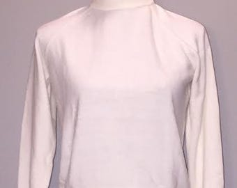 Vintage White Turtleneck / size petite small / by Designers Originals Luxelon