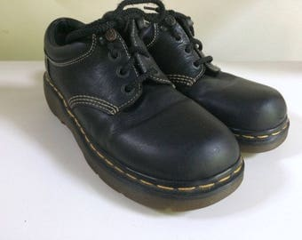Black Dr. Martens Made in England; Women's US10, UK8, EUR42, Japan26; Free Shipping; LowTop; Platform; Chunky; Cool Goth; Vintage Docs; Punk