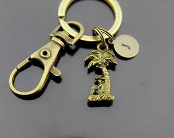 Palm Tree Keychain, Coconut Tree Keychain, Bronze Palm Tree Charm Keychain, Coconut, Personalized Keychain, Initial Keychain, Initial Charms
