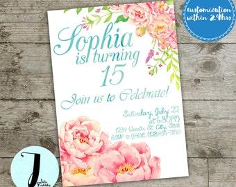 peony invitation, birthday invitation, floral invitation,  ladies birthday invitation, 15, 16, 21, 24, watercolor flowers, girl invitation