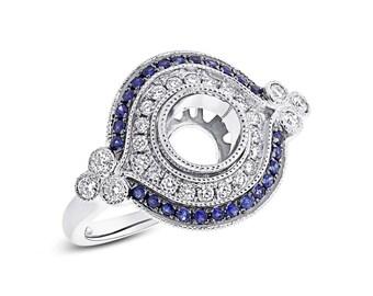 6.5mm Round Semi Mount 14K White Gold Blue Sapphire Diamond Ring Setting