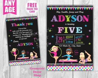 Gymnastic Birthday Invitation Gymnastics Invitation Gymnastic Invitation Printable Girl Invite Pink Aqua Green Purple Chalkboard BDG20