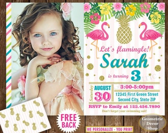 Flamingo Pineapple First Birthday Invitation Pool Bash Birthday invite Printable Luau Hawaiian Party Pink Teal Photo Photograph Gold BDP15