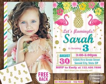 Flamingo Pineapple First Birthday Invitation Pool Bash Birthday invite Printable Luau Hawaiian Party Pink Teal Photo Photograph Gold BDP15
