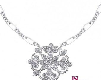 Diamond Necklace White Gold, Diamond Pendant Necklace, Floral Necklace, 0.50 TCW, Round Cut Diamond Necklace, Women's Necklace