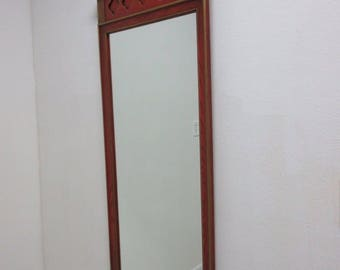 Vintage Mediterranean Paint Decorated Hanging Wall Mirror