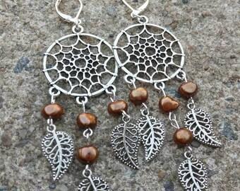 Dreamcatcher earrings - Brown pearl earrings - long chandelier earrings - leaves earrings - boho dangle earrings - handmade earrings - gift