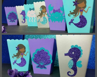 10 Glitter Mermaid Themed  Snack/Favor Boxes, Mermaid Popcorn Box,