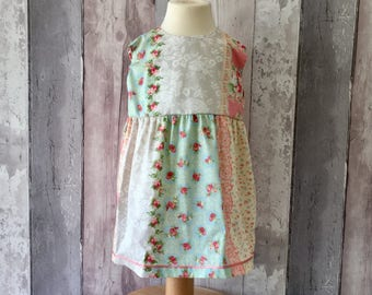 Newborn-6 Months Pink, Turquoise, Lace, Floral Baby  Girls 100% Cotton Party Dress