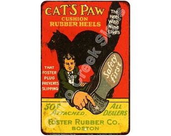 1916 Cat's Paw Rubber Heels Vintage Look Reproduction 8x12 Metal Signs 8121141