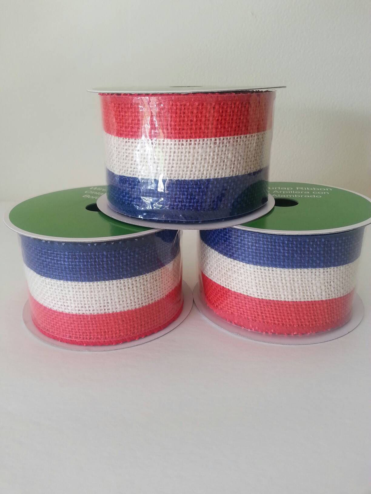 Wired Burlap Ribbon Roll Sriped Blue Red And White 100