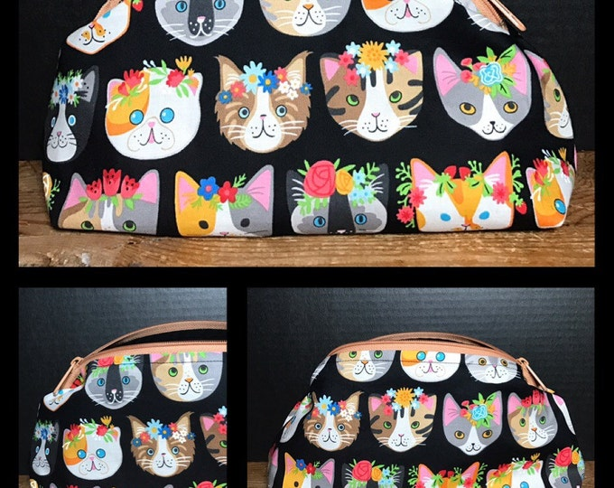 Colorful Cats with flower crowns | make up bag, money bag, cosmetic bag, everything bag, Plum & Khloe Design bag. Zipper Pouch