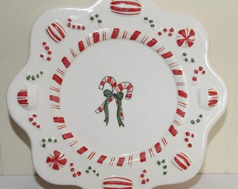 Christmas Red Green White Candy Cane Peppermint Candle Holder Tray Dish Plate
