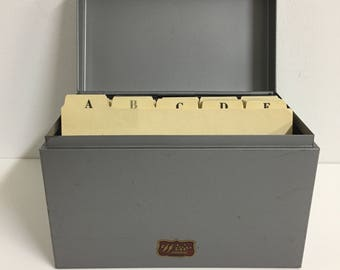 Vintage Weis File Card Box/ Vintage File Box/ Vintage Index Card Box/ Vintage Metal Box
