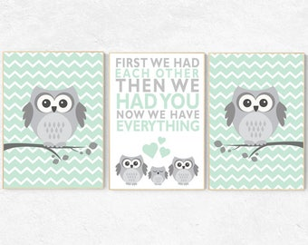 Owl nursery wall art, mint nursery decor, first we had each other then we had you, mint gray, owl room decor, owl nursery decor, kids room