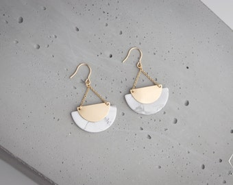 ICELAND earrings with natural White Turquoise marble effect dainty gold filled chain