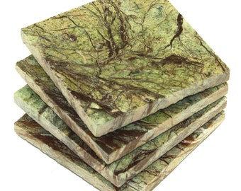 Square Rainforest Green Marble Stone Coasters- Personalized with Laser Engraving