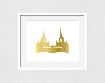 San Diego Temple Printable // Instant Download // Printing Services Available // Faux Gold (Matte) // Foil Printing Available // LDS Temple