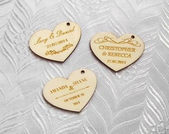 50 Personalised Wedding Love Hearts, Custom Laser Engraved Wooden Favor, Table Favours Decorations