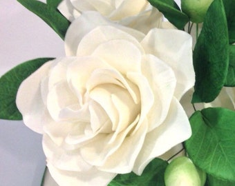 White Gardenia Sugar Flower for wedding cake toppers, southern wedding, gumpaste flower bouquets