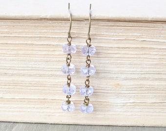 Purple Earrings - Dangle Earrings, Bronze Earrings, Wire Wrapped Earrings, Beaded Earrings, Gift for Mom, Drop Earrings, Bronze Jewelry