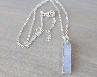 SALE Druzy Sterling Silver Necklace - Purple, Lavender, Druzy Jewelry, Pendant Necklace, Simple Necklace, Boho Necklace