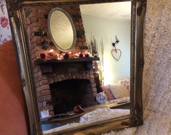 Gold ornate distressed mirror shabby chic mirror