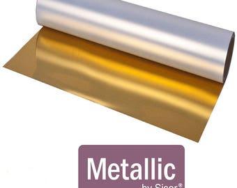 """12x14"""" Sheet Siser Metallic HTV, Gold Metallic HTV, SIlver Metallic HTV, Gold Foil, Silver Foil Siser Heat Transfer Vinyl, Mirror htv"""