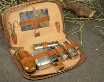 Vintage travel kit - Men's grooming kit - Genuine leather grooming case - Vintage men's shaving kit - Big travel case - Chrome accessories