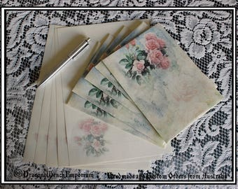 Handmade writing paper and envelopes. Handmade stationary. Personalised stationary. Rose stationary