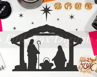 SVG NATIVITY SCENE Baby Christ Clipart Christmas Krippe Set Digital Illustration Scrapbook Art Props Printable
