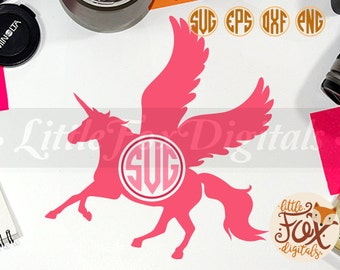 Unicorn Pegasus Horse Fanstasy Mithologyc Animal, Monogram Silhouette Vector Digital Illustration Scrapbook svg eps png dxf