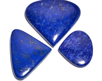 3 Pieces Lapis Lazuli Cabochons Lot Heart Shape, Natural Lapis Lazuli Gemstone Cabochon Loose Gemstones Cabs Smooth Stones