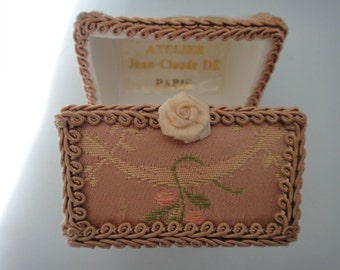 Hand made French floral tapestry jewellery trinket box workshop Jean-Claude Paris