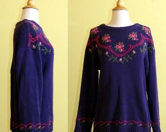 80s Cambridge Dry Goods Company Purple Floral Sweater, medium