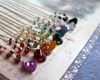 Vintage New Old Stock Ax Cubic Zirconia Necklace // Choose Your Color // Rainbow CZ Necklace // Vintage Necklace // Swarovski Crystal