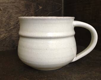 Large White Handmade Ceramic Mug, Wheel Thrown Ceramic Mug, Pottery Mug, Coffee Mug