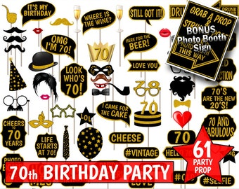 70th Birthday Party Printable Photo Booth Props. Black and Gold Glitter. Photobooth Selfies, Speech, Glasses, Hats, Ties, Lips, Mustaches.
