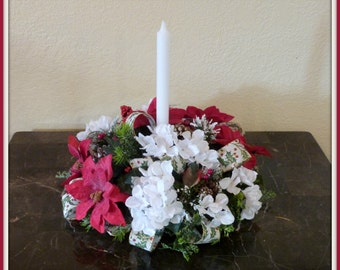 Christmas Candle Centerpiece With Birds, Christmas Arrangement with Birds and Poinsettias