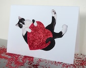 Black and White Cat with Big Red Heart Glitter Card, Cat Valentine's Day Card