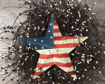 Rustic Wreath and Americana Star Full with Americana Berry Mix