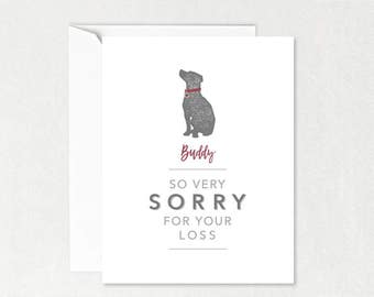 Dog Sympathy Card, 'So Very Sorry for Your Loss',  Pet Sympathy Card, Can Be Personalised , Dog Greetings Card, Soft Grey & White