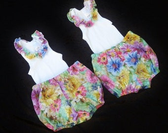 "Twin baby girl outfit, Baby shower twins, Baby girls matching clothes, size 3-6 months, ""READY TO SHIP"""