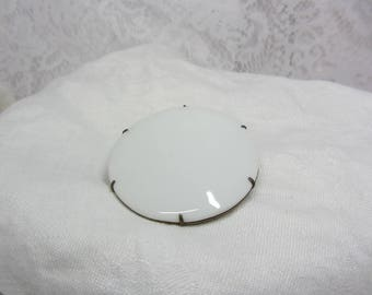 Vintage Large Round Milk Glass Tile Attached to Brass Frame Brooch with C Clasp