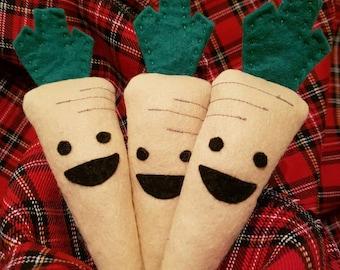 Parsnip Christmas Tree Decorations felt Parsnip felt food play food vegetable plush