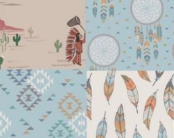 Blue-Cotton Fabric Quilting Bundle-Native American Boy-Headdress-Wolfpup-Fireflies-Cactus-Moon-Desert-Feathers-Dreamcatchers