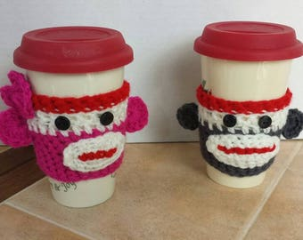 Sock Monkey Coffee Cozy, to go cup sleeve, tea cozy, hot cup sleeve.