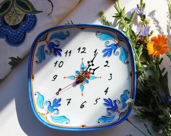 Wall clock  Kitchen clock Home decor Porcelaine clock for kitchen Present for her Wall decor Majolica clock Hand painted clock