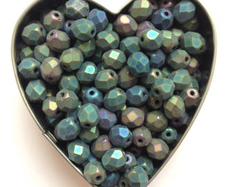 Czech Firepolish Faceted Round Beads ~ Iris Selection - Choose from Crystal or Matte ~ 25 Beads Loose ~ Available in 4mm, 6mm & 8mm