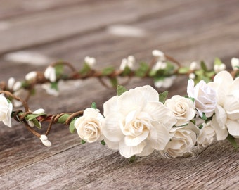 Bridal White Wedding Flower Crown